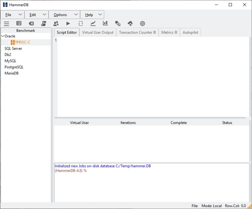 4. Installing and Starting HammerDB on Windows
